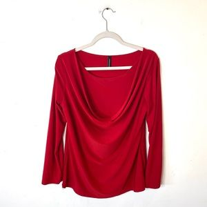 Jason Maxwell Cowl Neck Top Red Size XL